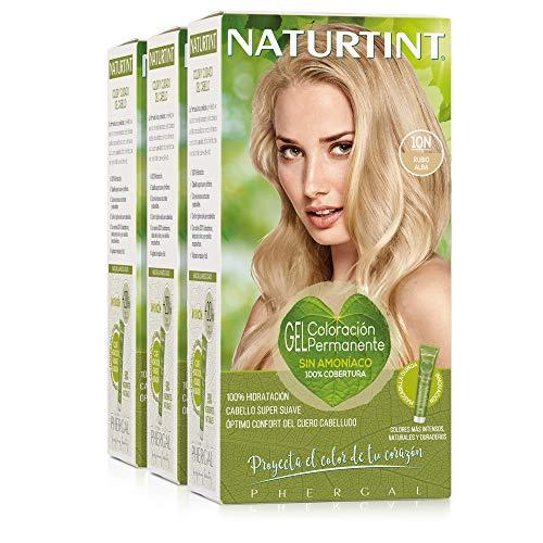 Naturtint Coloración 10N Rubio Alba   Tinte sin Amoniaco   100% Cobertura de Canas e Hidratación   Ingredientes y Aceites Vegetales   Color Natural y Duradero   Pack de 3.