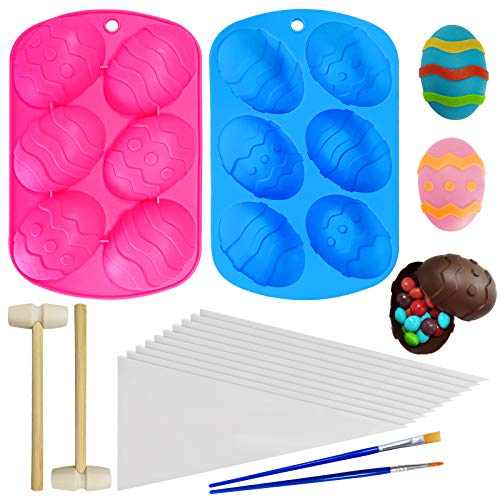 Easter Egg Silicone Molds, JUUMVIR Silicone Chocolate Molds Easter Egg Mold 6 Holes DIY Candy Baking Mold with 2 Wooden Hammer 2 Brush 10 Piping Pastry bags for Chocolate, Jelly, Cake, Ice Cube