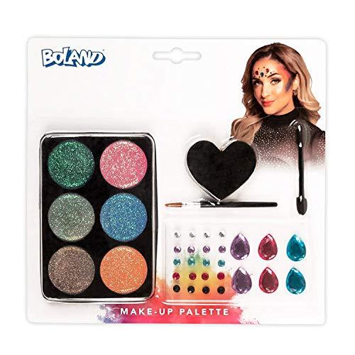 Boland 45103 Glamour - Juego de maquillaje (6 colores, con aplicador, pincel y esponja, piedras preciosas autoadhesivas, disfraz, carnaval, fiesta temtica, Halloween