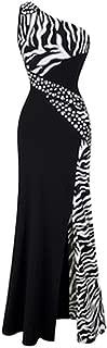 Surprise S dress One Shoulder Zebra Gemstones Stitching Evening Dress Black Ballkleid 072