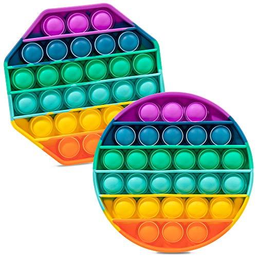 iBaste 2PCS Push Pop Pop Bubble Sensory Fidget Toy, One Louder Side Push Bubbles Pop, Pop Bubble...