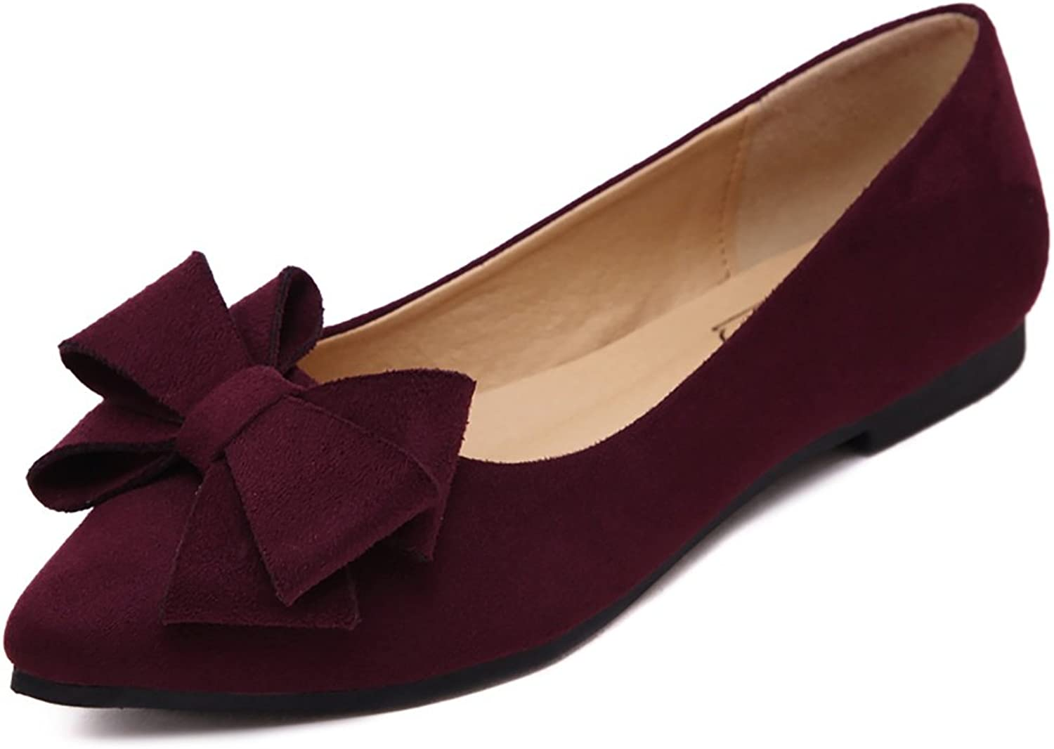 Meeshine Women's Comfortable Bow Point Toe Flat Pumps Slip On shoes