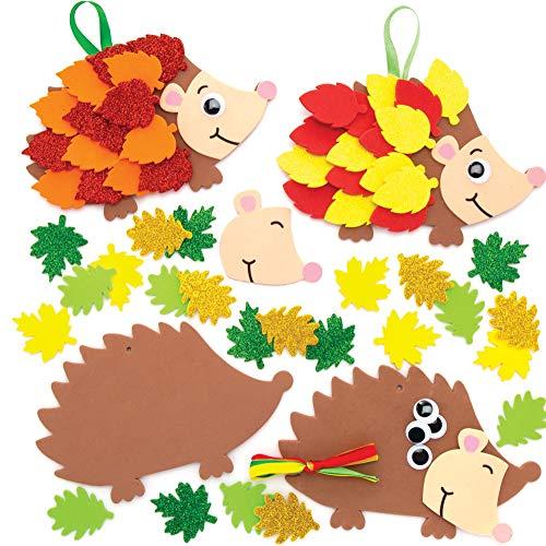Baker Ross AW937 Bastelset für Deko-Anhänger Igel (5 Stück) Kinder Kunst und Bastelhandwerk für Herbst und Winter