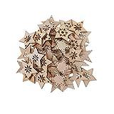 FLAMEER 50 Stück Holz Sternformen Schneeflocke Holzscheiben Tischdekoration Holz Deko Basteln Weihnachtsdeko - natürlich, 30 mm - 6