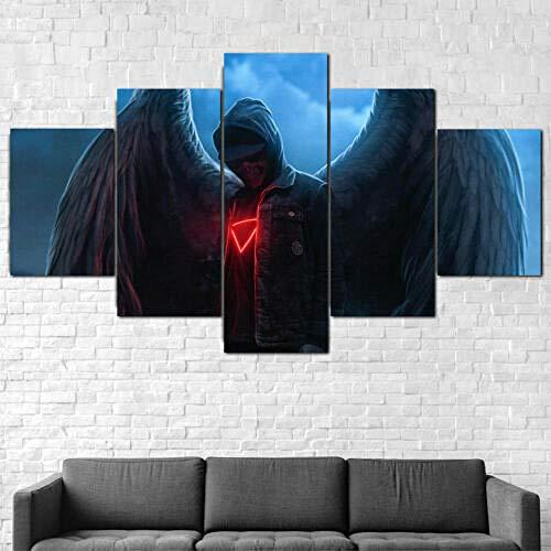 ZASX Cuadro en Lienzo HD Impresión de 5 Piezas/Gráfica Cartel Decoración Cartel de Noche Oscura Impresión Artística Imagen Gráfica Decoracion de Pared,Cuadro En Lienzo