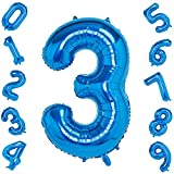 Numeros Cumpleaños 3, Foil Globo Número 3 Azul, Globo Numero 3, Decoracion 3 Cumpleaños Niño, Globo 3, Decoracion Cumpleaños Niña Feliz Cumpleaños