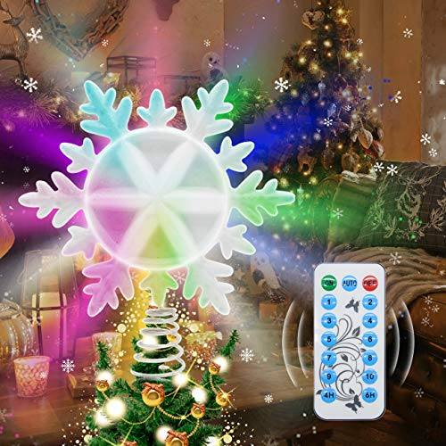 Yocuby Christmas Tree Topper, Remote Control Wall Light for Indoor and Outdoor, LED RGB Treetop with Timer, IP44 Waterproof, Xmas Home Decorations