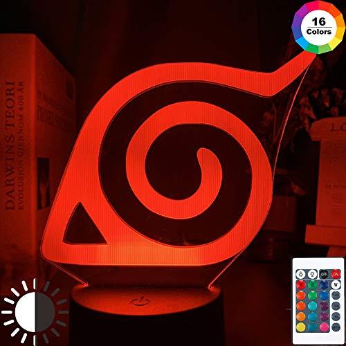 KangYD LED Nachtlicht Naruto Konoha Logo, 3D Illusion Bunte Lampe, G - Handy-Kontrollbasis, Warme Lampe, Geschenk für Jungen, Tischlampe, Hohe Qualität