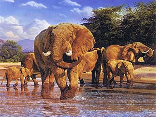 Puzzles Rompecabezas 300 Piezas para Entretenimiento Elefante para Adultos Rompecabezas de Madera Juguetes 38x26cm