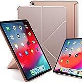 KHOMO iPad Pro 12.9 (3 Gen) Funda Origami Semi Transparente con Smart Cover Protección Delantera y Trasera para Nuevo Apple iPad Pro 12.9-2018 - Rosa Dorada