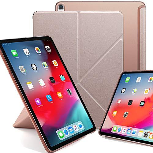 KHOMO iPad Pro 12.9 2018 Smart Cover Schutzhülle mit Halbdurchsichtiger Silikonrückseite und Origami Aufstellungsmöglichkeiten - Rotgold