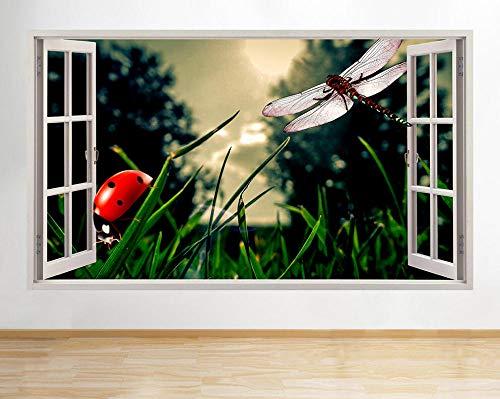Silueta Calcomanías 60X90 Cm / 23.6X35.4 Pulgadas,Salón De Insectos Mariquita Libélula Mural Calcomanías Arte Pegatinas Diy Silueta Vinilo Calcomanías Para Pared Desmontables De Vinilo