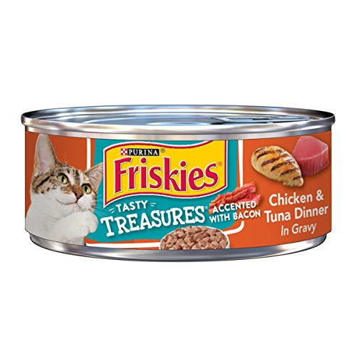 Purina Friskies Gravy Wet Cat Food, Tasty Treasures Chicken & Tuna Dinner Accented With Bacon - (24) 5.5 oz. Cans