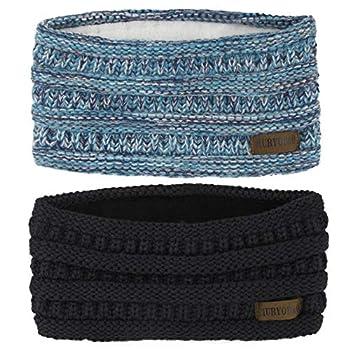 Muryobao Women Winter Ear Warmer Headband Cable Knit Fuzzy Fleece Lined Head Wrap Stretchy Thick Headband Black & Confetti Blue