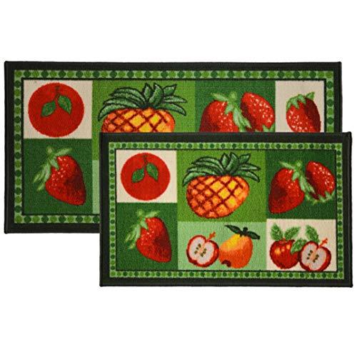 Kashi Home 2pc Mixed Fruit Kitchen Rug Set, Area Rug, Mat, Carpet, Non-Skid Latex Back (18x30 Rectangle & 20x40)