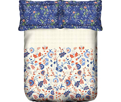 Portico New York Cadence Printed 100% Cotton 200 TC Super King Double Bedsheet with 2 Pillow Cover- (274 X 274) cm
