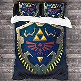 Qoqon Hylian Shield Legend of Zelda Triforce Juego de Cama de 3 Piezas Funda nórdica Juego de Cama Decorativo de 3 Piezas con 2 Fundas de Almohada