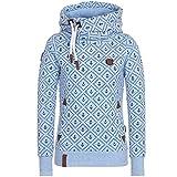 U/A - Sudadera con capucha para mujer con estampado de manga larga y capucha, para otoño e invierno Azul Blue1 L