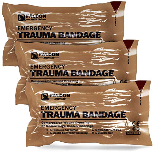 Falcon Medi-Tac Israeli 6 Inch Emergency Compression Bandage Wound Trauma Dressing Double-Vacuum Sterile Packaging (3)