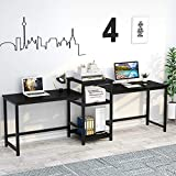 Tribesigns 96.9' Double Computer Desk with Printer Shelf, Extra Long Two Person Desk Workstation with Storage Shelves, Large Office Desk Study Writing Table for Home Office (Black)