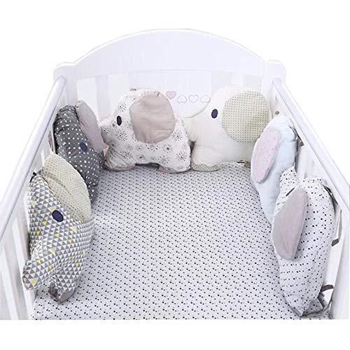 HB.YE 6 pcs Creativa barandilla cama del bebé, Cojín protector para cunas, Forma adorable del elefante Polka Dot cuna del sueño de la cama para los niños