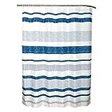 SENSEA - Textil-Duschvorhang - Tipee- Blau gestreift - B.180 x H.200 cm