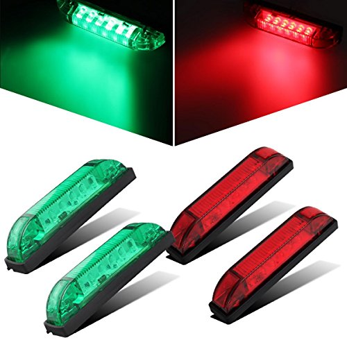 Partsam 4X Boat Navigation LED Lighting RED & Green Waterproof Marine Utility Strip Bar