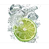 Vliestapete Premium Küchentapete Lime Bubbles - Fototapete Quadrat Vlies Tapete Wandtapete Wandbild Foto 3D Fototapete, Größe HxB: 240cm x 240cm