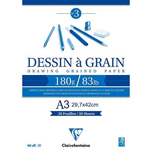 Clairefontaine 96622C Zeichenblock Kopfseitig Geleimt Dessin a Grain, Din A3 29 x 42 cm, 30 Blatt, 180 g, weiß