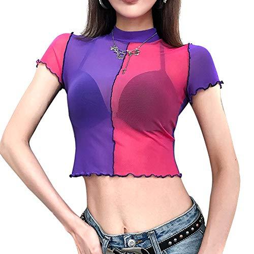 Vrouwen met korte mouwen Ronde Kraag Crop Top Mesh T-shirt for Summer Beach Party QL Sale