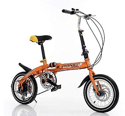 AI-QX Cruiser Radfahren, Kinder Stadtfahrräder Falten, Kohlenstoffstahl, 6-Gang-Cruiser-Bikes, Leicht Zu Tragen,Orange,14''