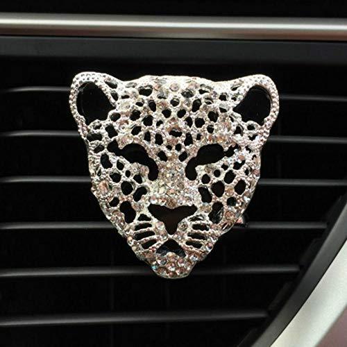 XVBTR Air Freshener Cute Diamond Leopard Auto Air Condition Vent Clip Perfume Outlet Air Smell Diffuser Fragrance Auto Accessories Silver