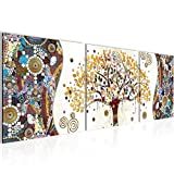 Runa Art - Pintura Gustav Klimt Árbol De La Vida 120 x 40 cm Cuadro in Lienzo no Tejido Vistoso Varias Partes Moderno Decoración de Pared 004633a