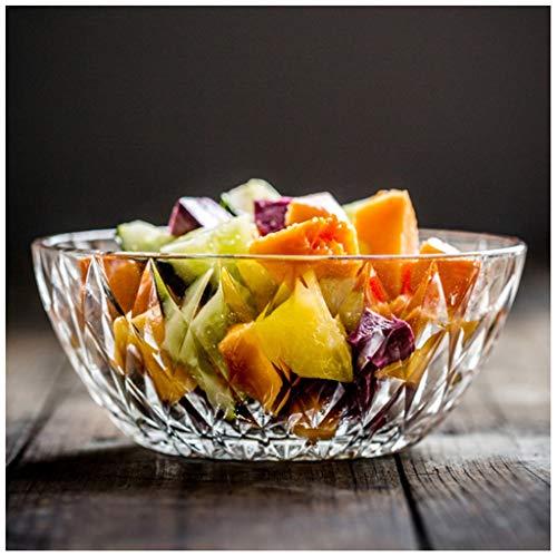 YYF Bol de salade de fruits transparent épais - Verre trempé de 5 cm à 7,5 po de surface taillée au diamant européen (Taille : 19.5cm)
