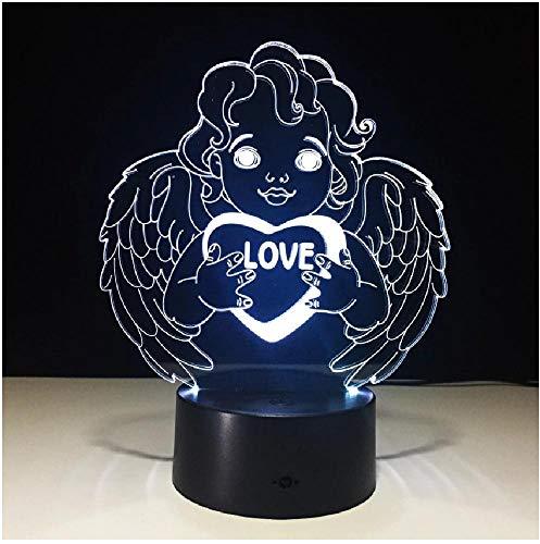 Celebre el regalo del Día del padre Love Angel 7 colores 3D Interruptor táctil Luz Decoración de la habitación Decoración Lámpara de mesa Led Iluminación para dormir