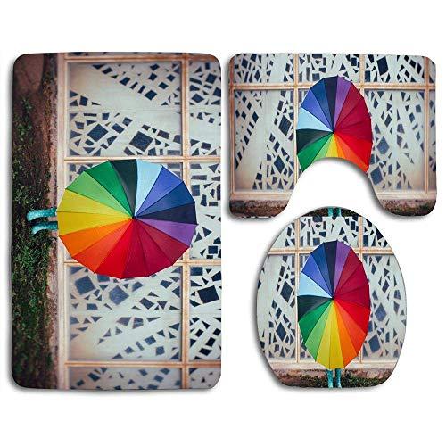 huatongxin Bath Mat Sets Colourful Rainbow Umbrella, Rain, Child Girl Contour Rug U-Shaped Toilet Lid Cover,Non Slip,Machine Washable,3-Piece Rug Set Easier to Dry for Bathroom