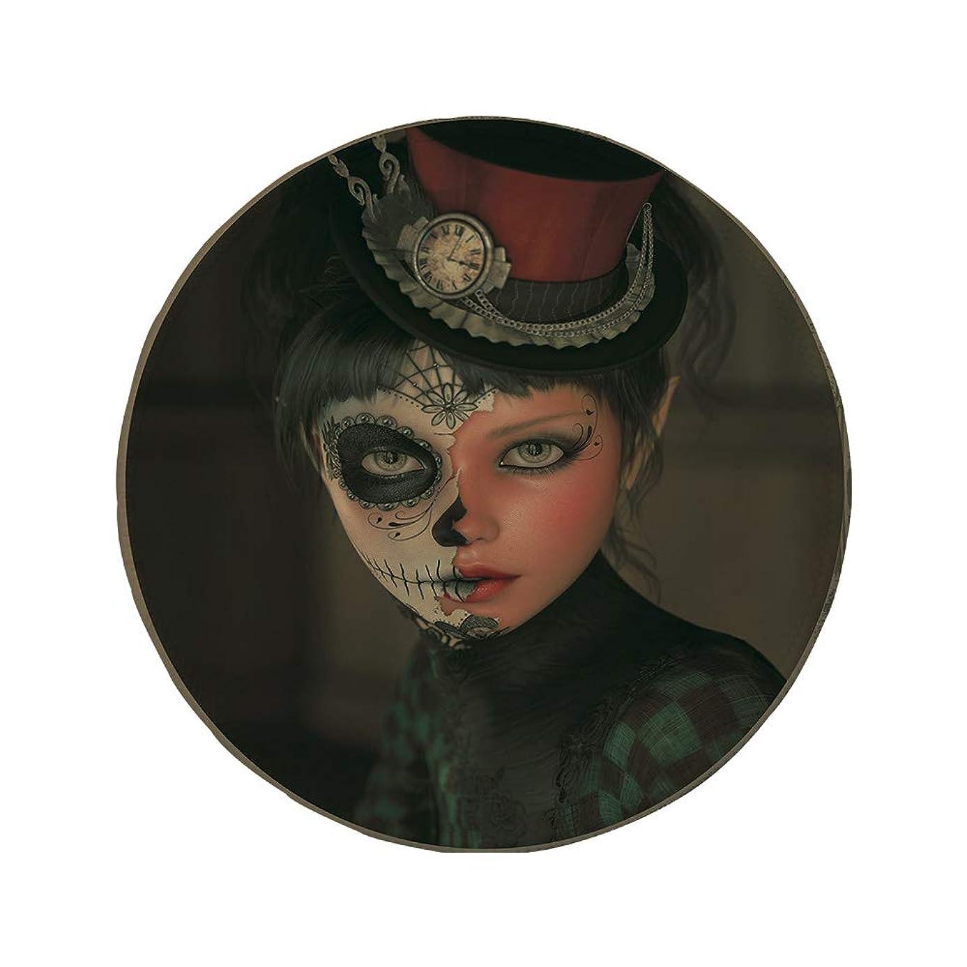 Non-Slip Rubber Round Mouse Pad,Sugar Skull Decor,Antique Portrait Girl with Calavera Inspired Makeup and Topper Realistic Decorative,Multicolor,7.87