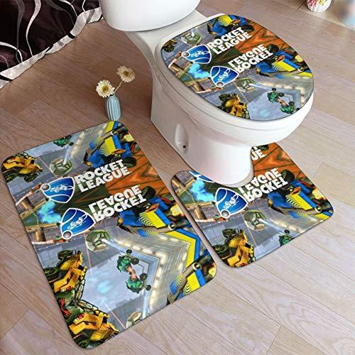 Roc-ket Lea-gue - Juego de alfombrillas de baño antideslizantes para pedestal de...