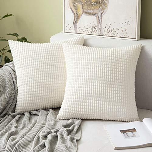 MIULEE 2er Set Kordsamt Soft Solid Dekorative Quadrat Wurf Kissenbezüge Set Kissen Fall für Sofa Schlafzimmer 18 x 18 inch 45 x 45 cm, Weiß