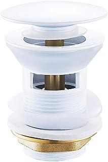 Juego de desagüe universal con válvula de desagüe para lavabo, desagüe para desagüe con tapón de rebosadero para fregadero, blanco