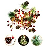 Cibeat PineCones String Lights 7FT 20LEDs Pine Needle Red Berry Copper Wire String Light for Thanksgiving Christmas Holiday Birthday Decor Warm White