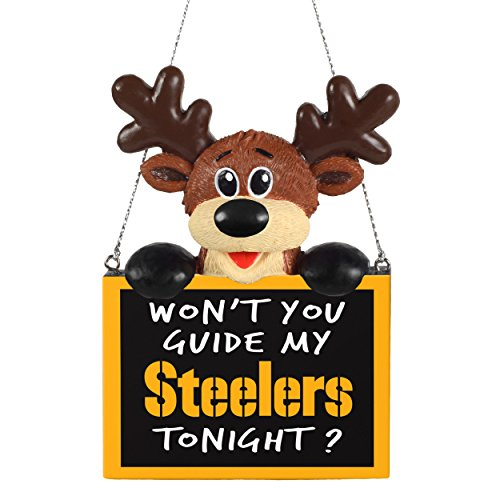 2015 NFL Football Team Logo Reindeer With Sign Holiday Tree Ornament - Pick Team (Pittsburgh Steelers)