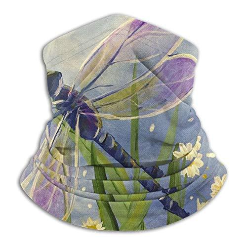 Towel&bag Delantal de cuello de libélula floral, pasamontañas, para hombre, bufanda de invierno, resistente al viento, diadema y orejeras, color negro