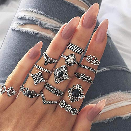 BAOBAO QUELLIA 15 PCS Bohemian Retro Crystal Flower Leaves Hollow Lotus Gem Silver Ring Set