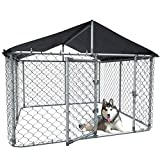 Gotland Outdoor Dog Kennel Heavy Duty Dog Cage Pet House Galvanized Steel Fence Dog Playpen Puppy Exercise Pen Chicken Coop Run Cage w/UV & Waterproof Cover, Metal Mesh Barrier Kennel (Medium)