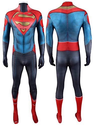 NVHAIM Adulto Superman Steel Cuerpo Body STRENSUT SIN COBILLO, NIOS Halloween Costura Costura Costura Ajuste Juego de fantasa Fiestas Dance Fiestas Cosplay Disfraz (Lycra),A-Men XXXL