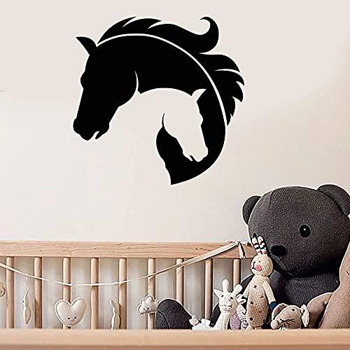 WERWN Calcomanías de Pared de Cabeza de Caballo Tipo Madre y habitación de bebé Dormitorio decoración del hogar Ventana de Vinilo Pegatina de Vidrio Arte Animal Mural