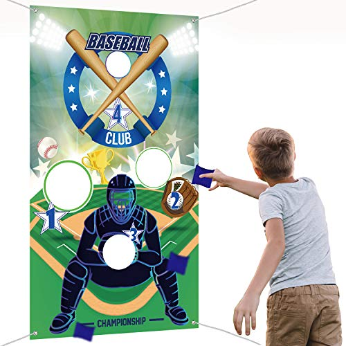 Baseball Toss Games with 3 Bean Bags, Indoor Outdoor Bean Bag Toss Game for Children and Adults Sport Theme Party Decorations Supplies