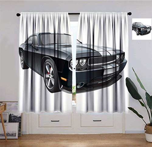 """Nansaprint Cars Home Decorative Curtain, Black Modern Pony Car with White Racing Stripes Coupe Motorized Sport Dragster Drapery for Home or Shared Space, Each Panel 31.5"""" W x 63"""" L Black Grey White"""