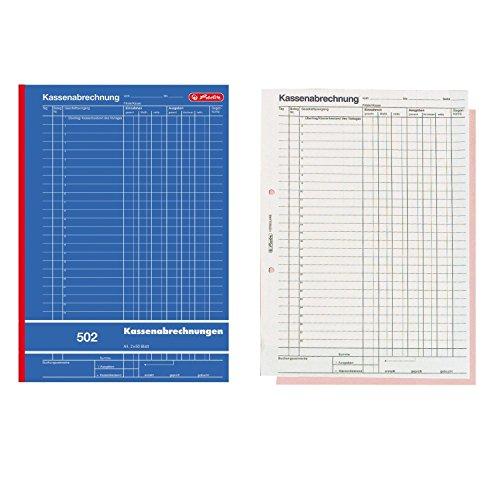 Herlitz 882415 Kassenabrechnungsbuch 502, Karton, A4, 2x50 Blatt blau (5er Spar-Pack)
